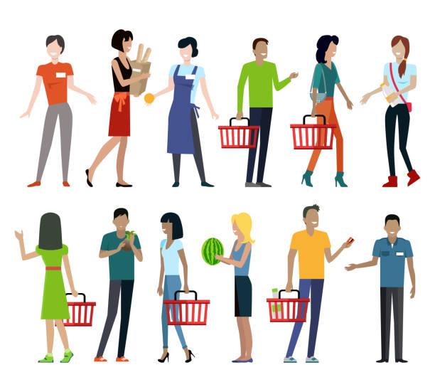 ilustrações de stock, clip art, desenhos animados e ícones de set of shopping characters vector illustration. - supermarket worker