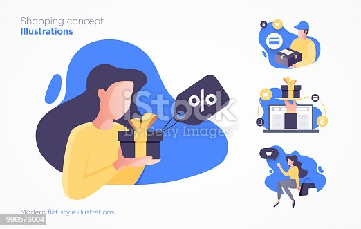 istock Set of shopping concept illustrations. Modern flat style 996576004
