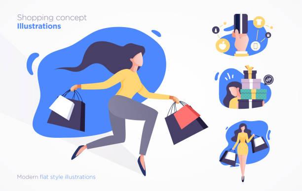 ilustrações de stock, clip art, desenhos animados e ícones de set of shopping concept illustrations. modern flat style - online shopping