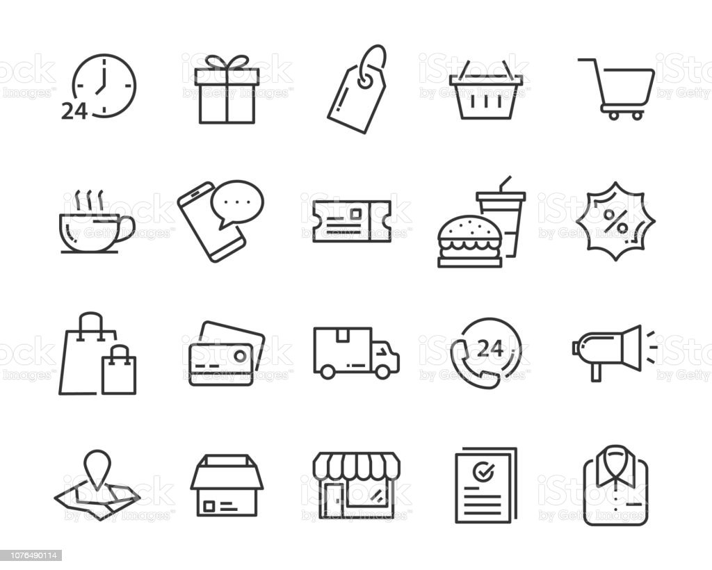 set of shopping icons, such as delivery, e-commerce, service, price, pay, sale - Royalty-free Apoio arte vetorial