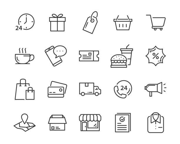 ilustrações, clipart, desenhos animados e ícones de conjunto de ícones, como a entrega, e-comércio, serviço, preço, pagamento, venda de compras - mercadoria