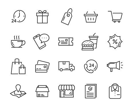 Set Pictogrammen Zoals Levering Ecommerce Service Prijs Beloning Verkoop Winkelen Stockvectorkunst en meer beelden van Advertentie