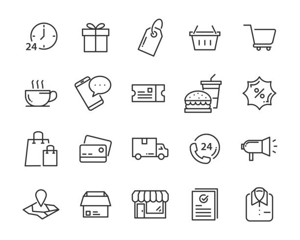 illustrazioni stock, clip art, cartoni animati e icone di tendenza di set of shopping icons, such as delivery, e-commerce, service, price, pay, sale - acquisti
