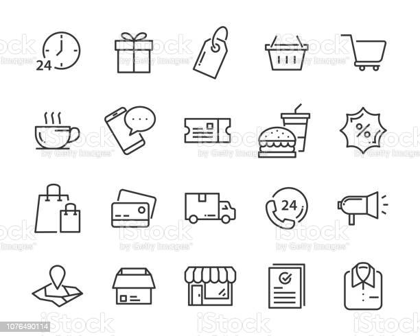 Set Of Shopping Icons Such As Delivery Ecommerce Service Price Pay Sale - Arte vetorial de stock e mais imagens de Apoio