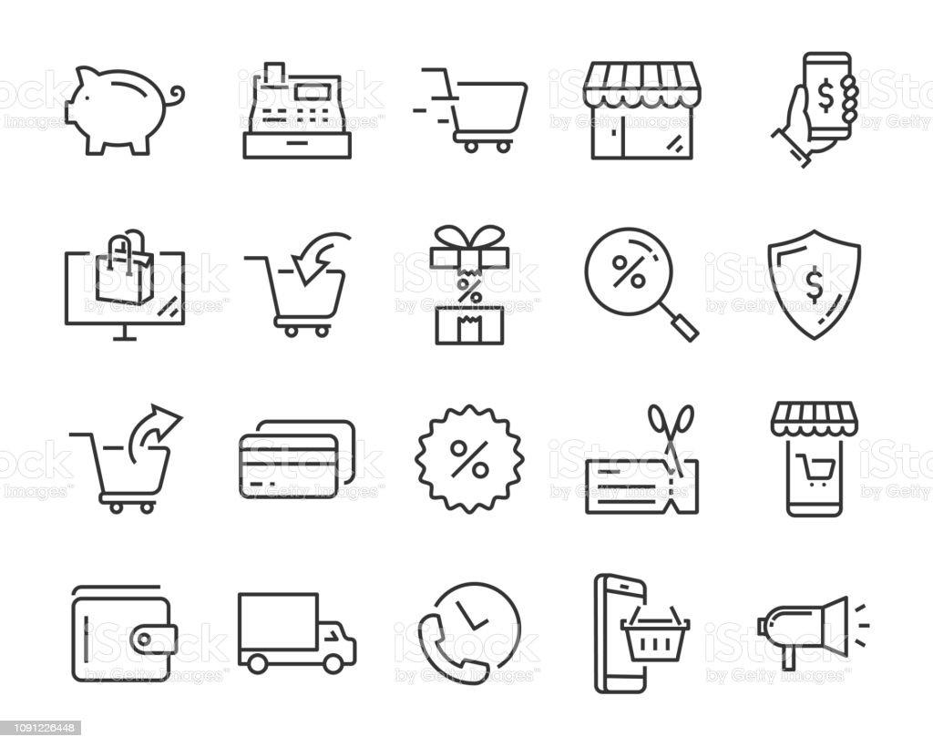 set pictogrammen, zoals levering, e-commerce, service, prijs, beloning, verkoop winkelen - Royalty-free Advertentie vectorkunst