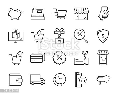 set of shopping icons, such as delivery, e-commerce, service, price, pay, sale