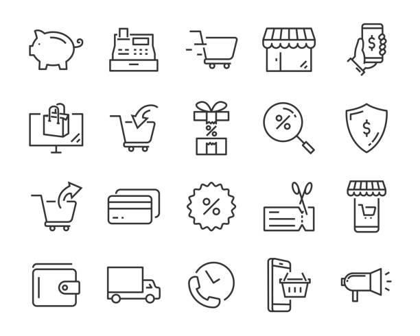 購物圖示集, 如送貨、電子商務、服務、價格、支付、銷售 - 商店 幅插畫檔、美工圖案、卡通及圖標