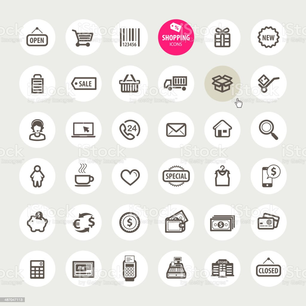 Set of shopping icons vector art illustration