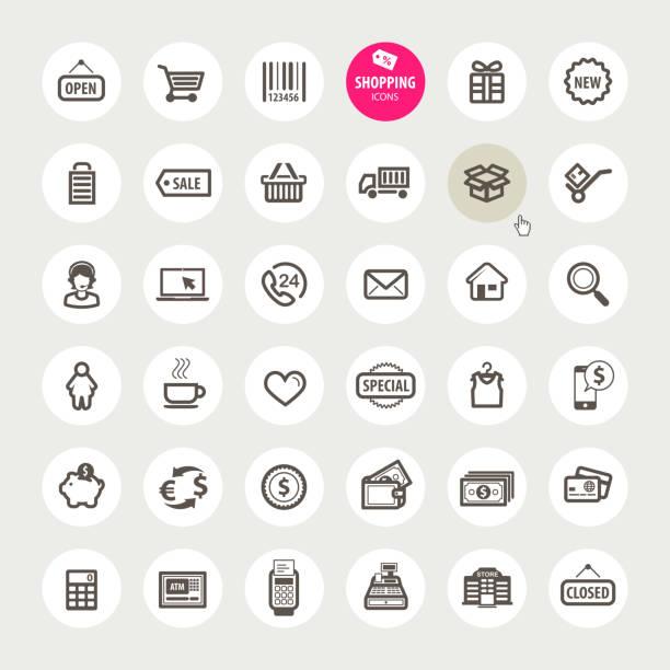 bildbanksillustrationer, clip art samt tecknat material och ikoner med set of shopping icons - on demand
