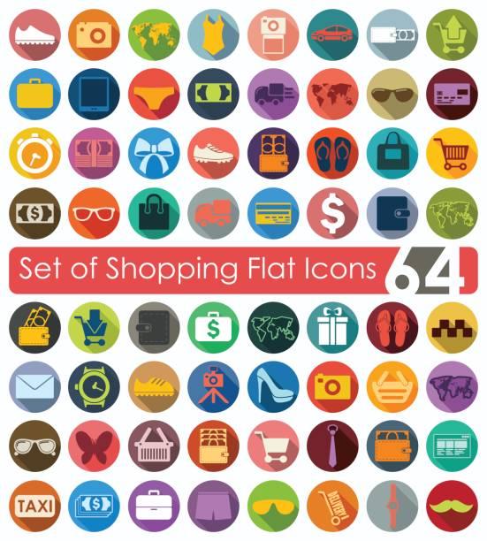 satz von shopping symbole  - swag stock-grafiken, -clipart, -cartoons und -symbole
