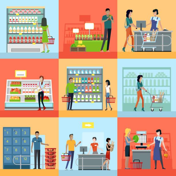 ilustrações de stock, clip art, desenhos animados e ícones de set of shopping in supermarket concepts vector. - supermarket worker