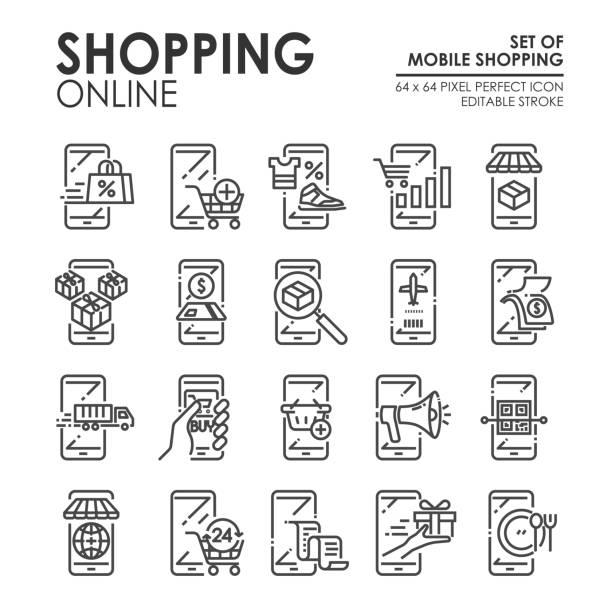 Set of Shopping Online and E-commerce icon via mobile smartphone. Such as shopping online, delivery, payment ,mobile banking, Flight booking, gift, etc. Editable Stroke, 64x64 Pixel Perfect. vector vector art illustration