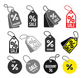 Set of shopping tags simple icon. Discount coupons symbol. Quality design elements. Special offer sign. Flat style. Vector illustration. Isolated on white background