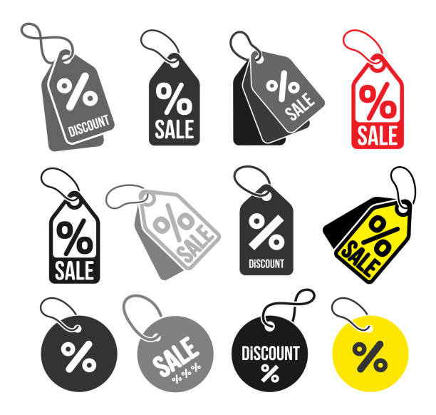ilustrações de stock, clip art, desenhos animados e ícones de set of shopping tags simple icon. discount coupons symbol. quality design elements. special offer sign. flat style. vector illustration. isolated on white background - tag vector