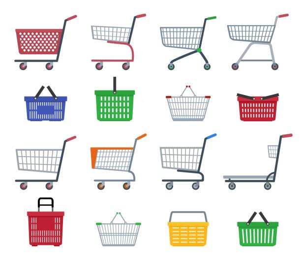 stockillustraties, clipart, cartoons en iconen met set van winkelen karren en winkelen manden. - winkelwagentje
