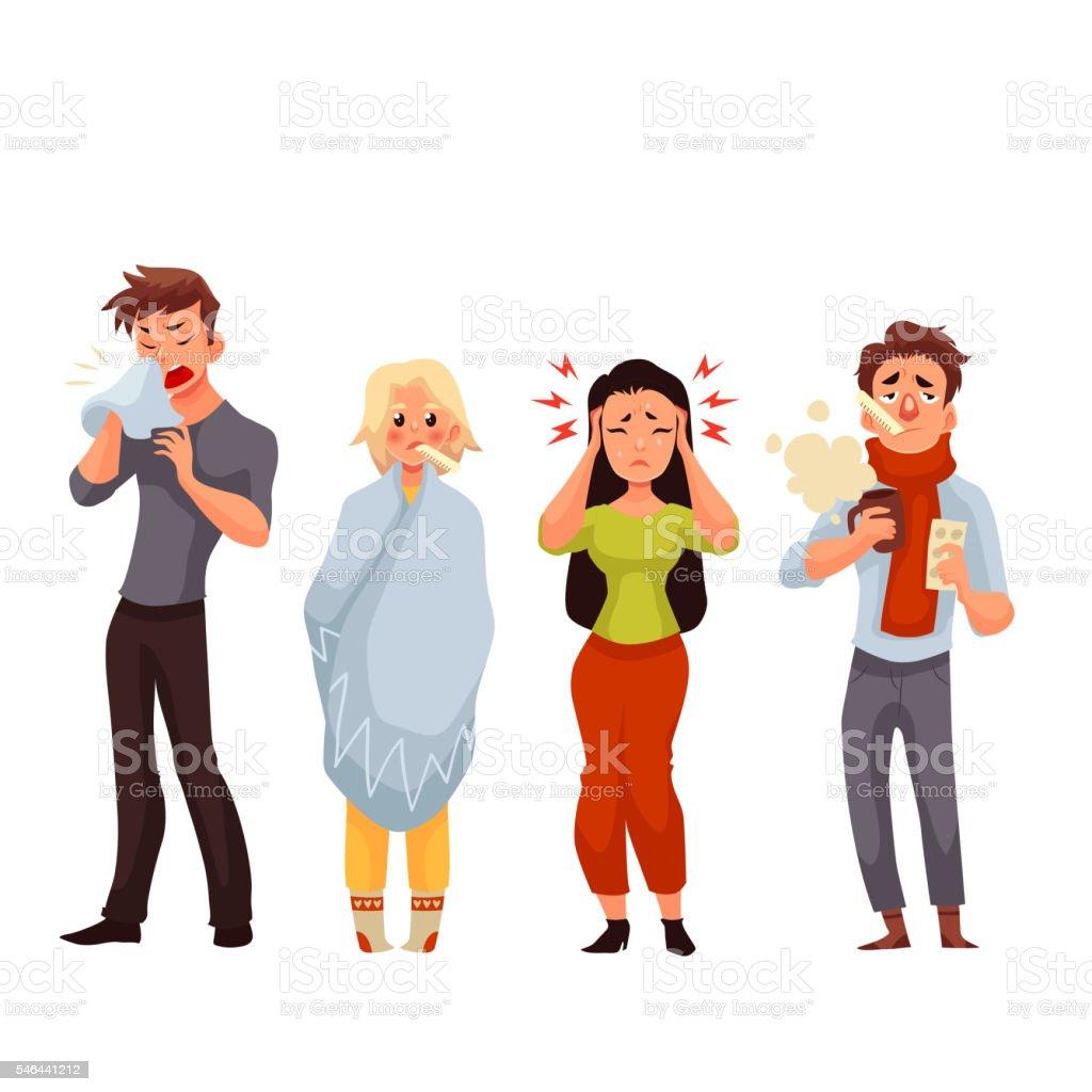 Set of sick people cartoon style vector illustration vector art illustration
