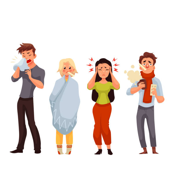 set of sick people cartoon style vector illustration - krankheit stock-grafiken, -clipart, -cartoons und -symbole