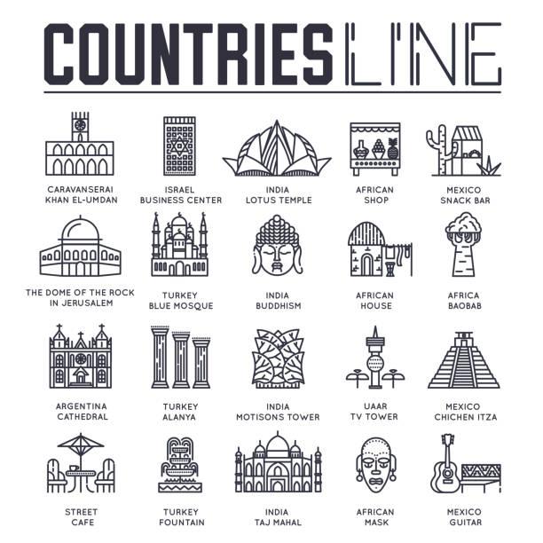reihe von sehenswürdigkeiten aus verschiedenen ländern. - alanya stock-grafiken, -clipart, -cartoons und -symbole