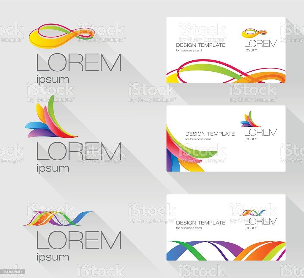Set of sign design elements with visit card template vector art illustration