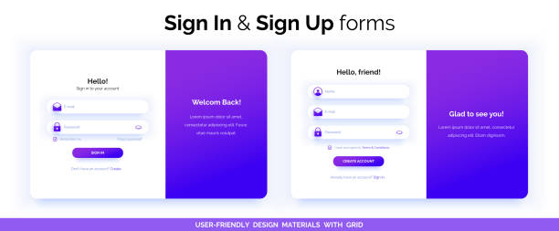 bildbanksillustrationer, clip art samt tecknat material och ikoner med uppsättning sign up-och sign in-formulär. lila lutning. - logga in