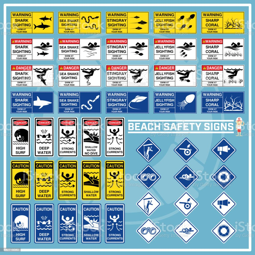 Set Of Signs And Symbols Of Beach Safety Warning Safety Signs For