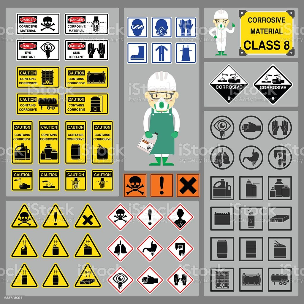 Set of Signs and Symbols of Corrosive Material Class vector art illustration