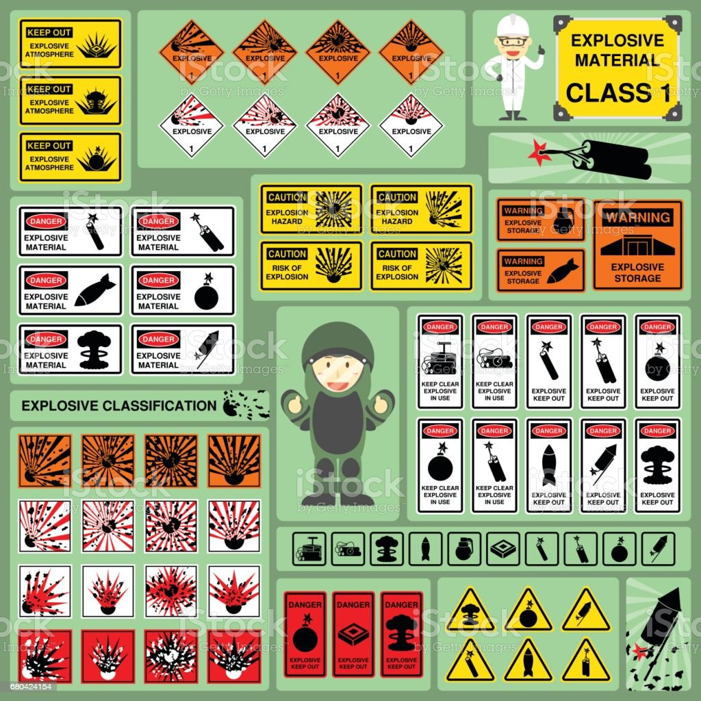 Set of Signs and Symbols of Explosive Material Classification vector art illustration