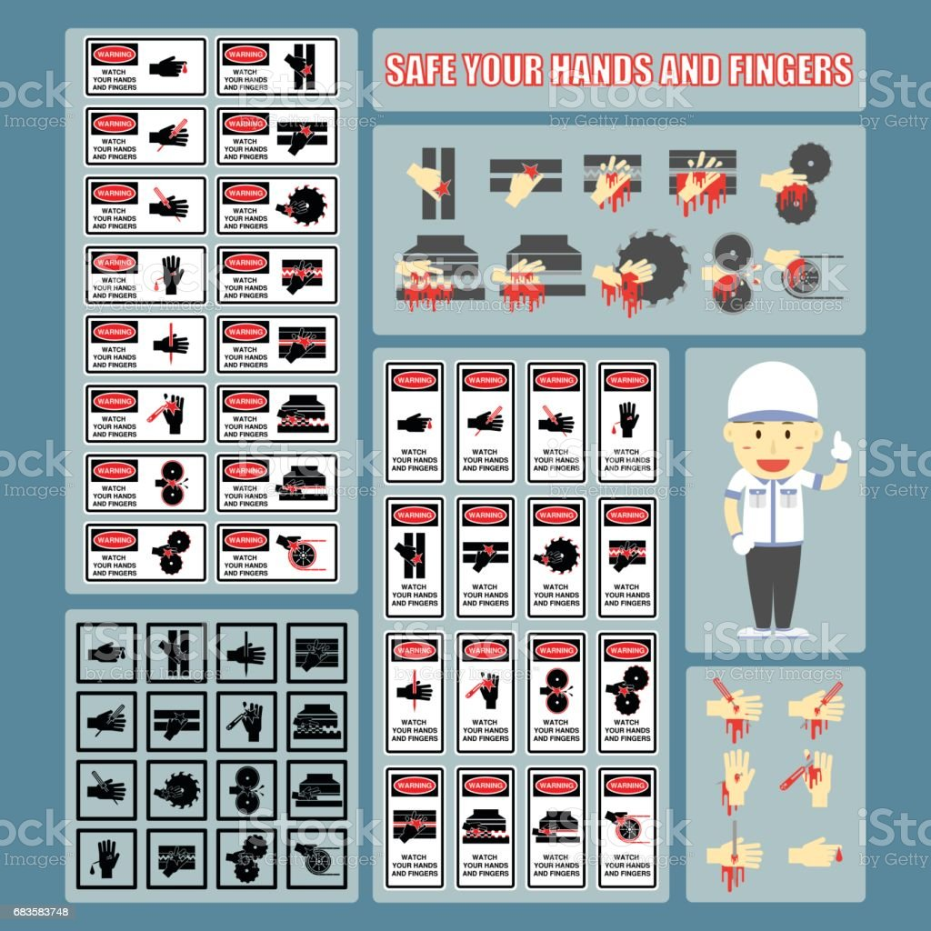 Set of Signs and Symbols of Hands and Fingers Warning vector art illustration