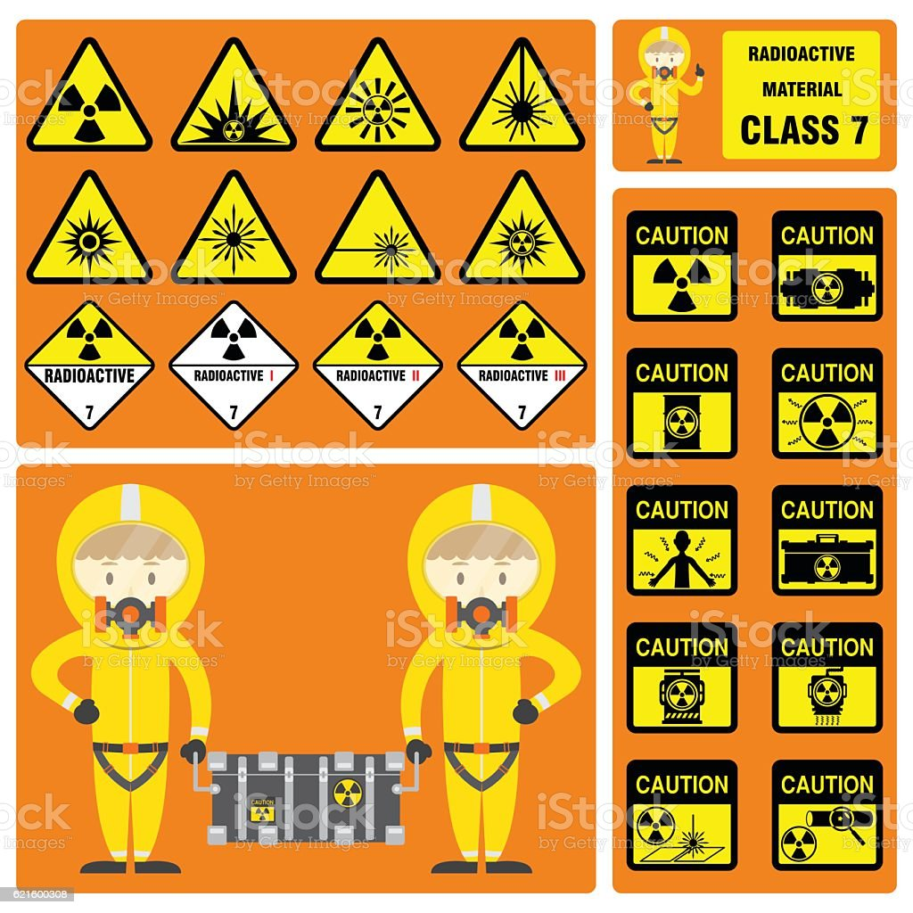 Set of signs and symbols of radioactive material class stock set of signs and symbols of radioactive material class royalty free set of signs and biocorpaavc Gallery