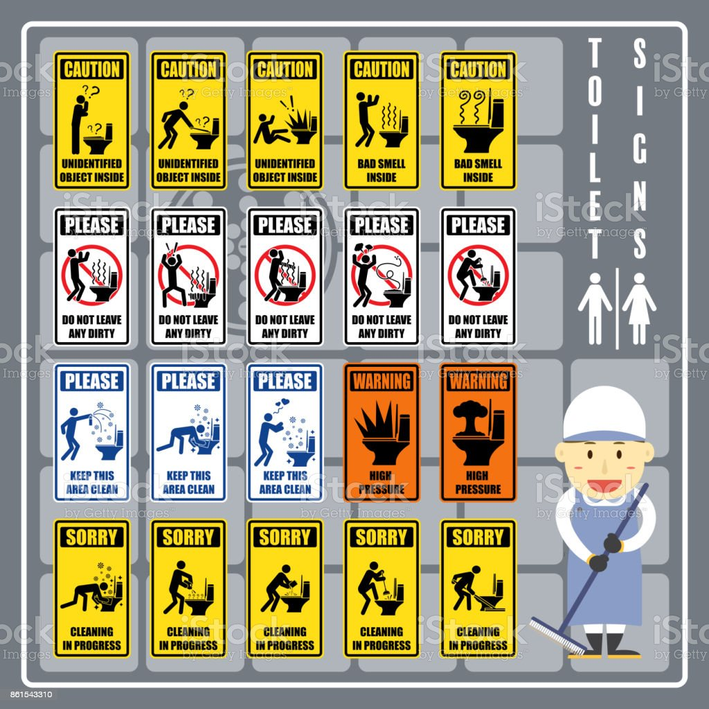 set of signs and symbols of toilet caution warning and instruction