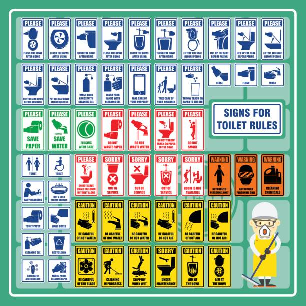stockillustraties, clipart, cartoons en iconen met set van tekens en symbolen van toilet regels en veiligheidsvoorschriften voor toilet - cell phone toilet