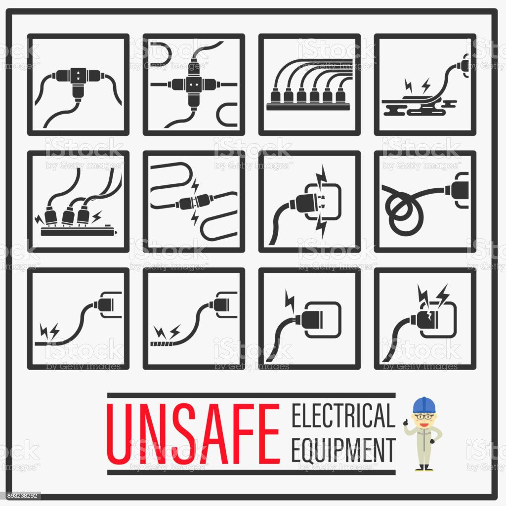 Set of signs and symbols of unsafe electrical equipments unsafe set of signs and symbols of unsafe electrical equipments unsafe actions and conditions of home buycottarizona Choice Image