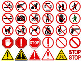 "Set of  Signs for Different Prohibited Activities. ""No"" signs, No smoking, No drinking, No photographing, No dogs, No walk and other. Vector illustration - you can simply change color and size"