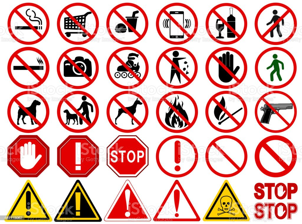 Set of  Signs for Different Prohibited Activities vector art illustration