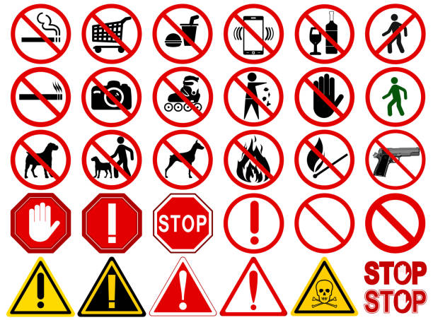"""Set of  Signs for Different Prohibited Activities Set of  Signs for Different Prohibited Activities. """"No"""" signs, No smoking, No drinking, No photographing, No dogs, No walk and other. Vector illustration - you can simply change color and size safety american football player stock illustrations"""