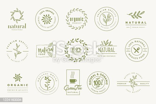 Set of signs for organic and natural products.