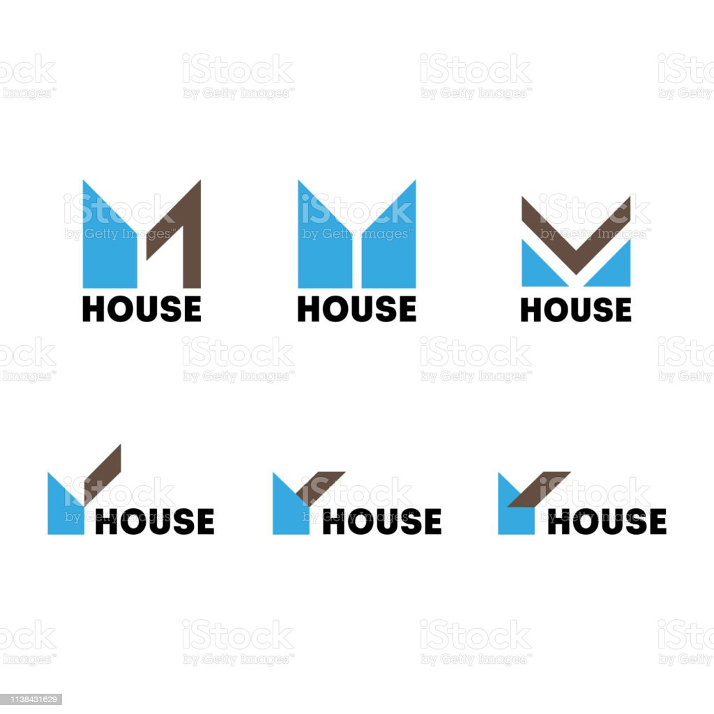 A set of signs on the theme of the construction of a modern house vector art illustration