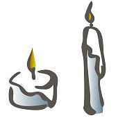 Set of black and white silhouette burning candles depicting aromatherapy spirituality religion commemorative and party line art vector illustration