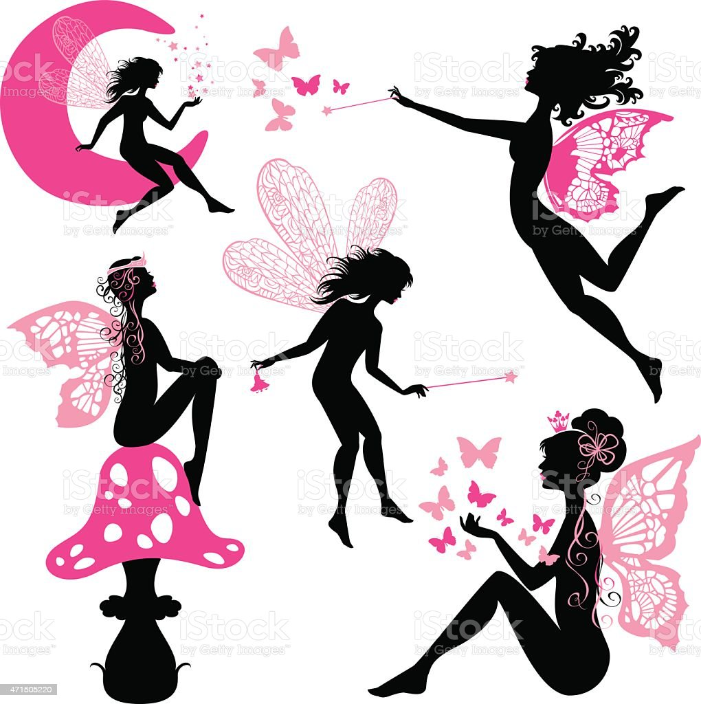 Set of silhouette fairy girls with butterflies vector art illustration