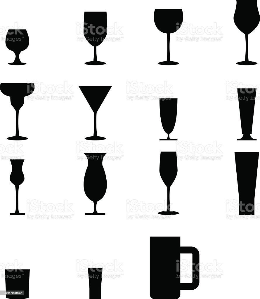 Set of silhouette glass Icons vector art illustration