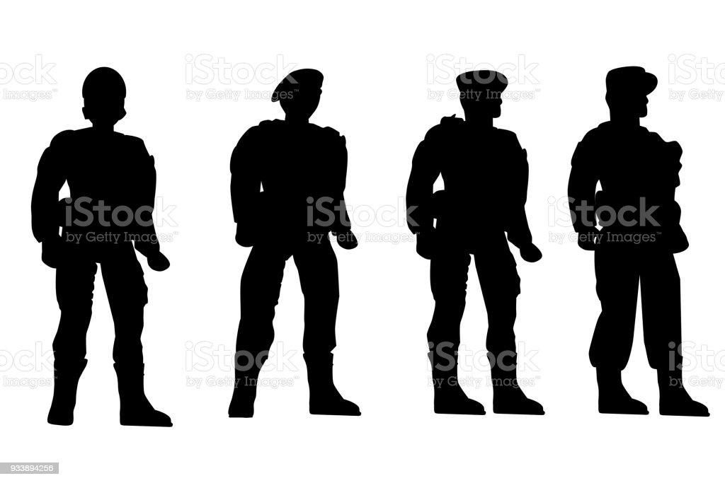 4 つの兵士ローアングルの視点白...