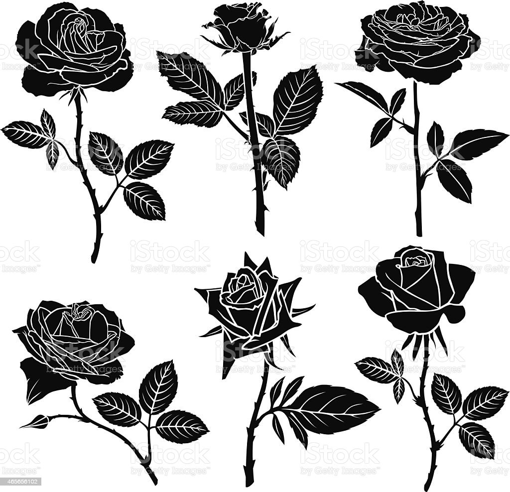 Set of silhouette of roses vector art illustration