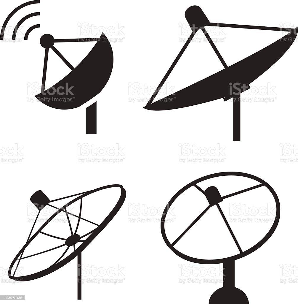 set of silhouette satellite dish icon stock vector art