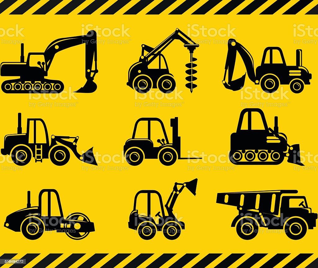 Set of silhouette toys heavy construction and mining machines. vector art illustration