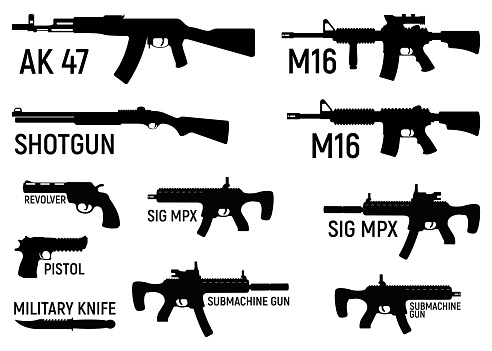 Set of silhouette weapon military rifle, revolver and pistol, shotgun carbine, knife and submachine gun black simple icon vector illustration, isolated of white.