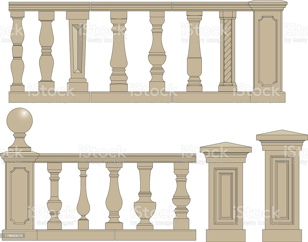 Set  of silhouettes balusters royalty-free stock vector art