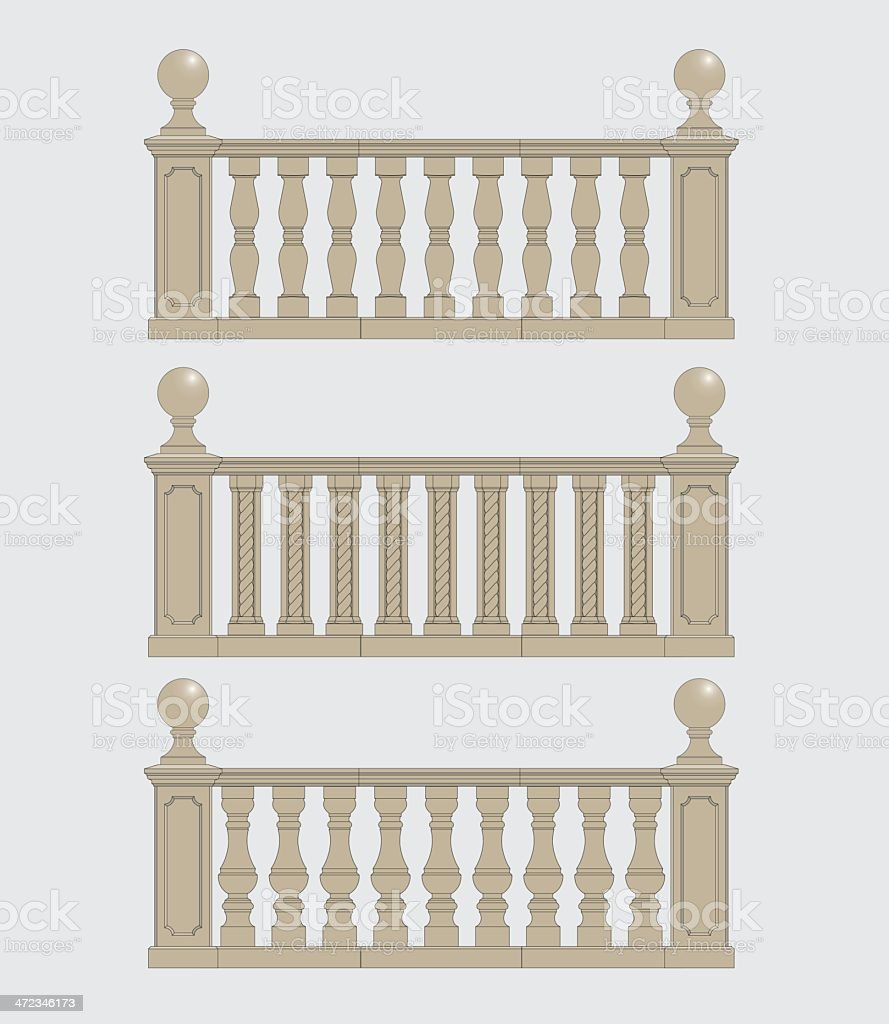 Set  of silhouettes balustrades royalty-free stock vector art