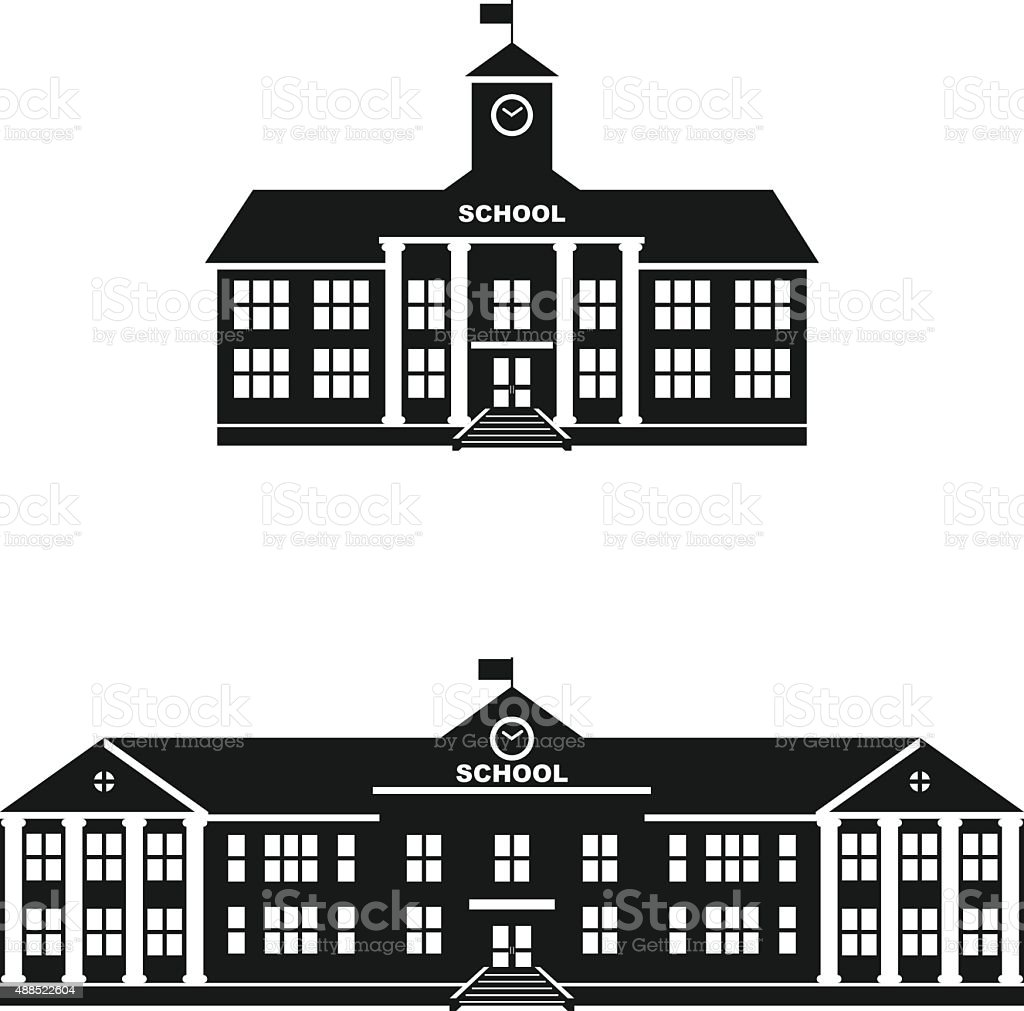 Set of silhouettes classical school building isolated on white background. vector art illustration