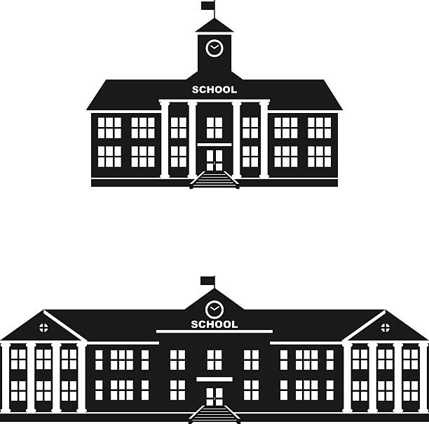 Set of silhouettes classical school building isolated on white background. Silhouette illustration different variants of classical school building in a flat style. schoolhouse stock illustrations
