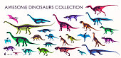 Set of silhouettes, dino skeletons, dinosaurs, fossils.